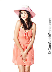 urgency - pretty girl with a hat in a short dress has a need...