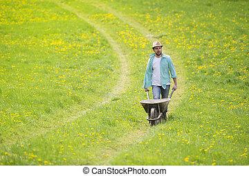 agricultor, carrinho de mão