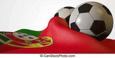 PORTUGAL, bandeira, e, futebol, bola