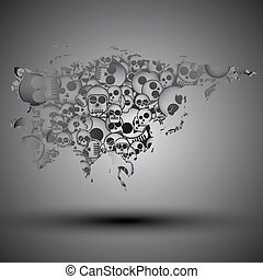 Eurasia map in the form of skulls background