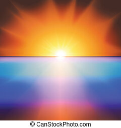 Sea sunset with bright sun background vector