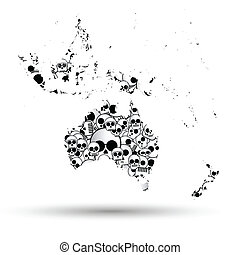 Australia map in the form of skulls background
