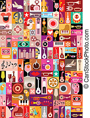 Music vector illustration - Art collage, musical vector...