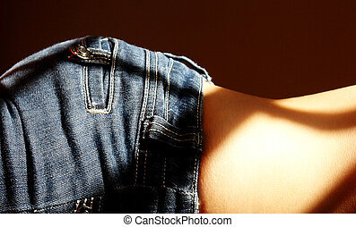 torso woman with blue jeans, photo image