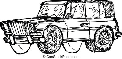 off-road car - hand drawn, sketch, cartoon illustration of...