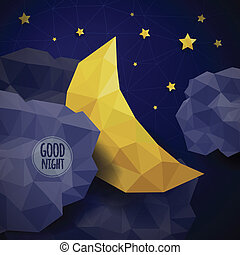 Vector triangle background with clouds, the new moon and the