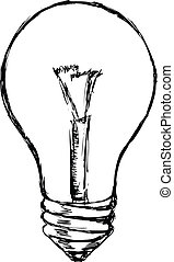 incandescent lamp - hand drawn, cartoon, sketch illustration...