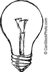 incandescent lamp - hand drawn, cartoon, sketch illustration...