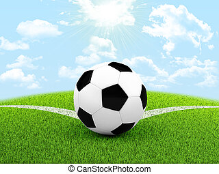Soccer ball in the corner of field