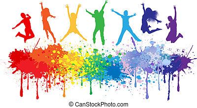 Colorful bright ink splashes and kids jumping on white...