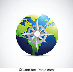 globe and compass illustration design