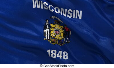 US state flag of Wisconsin loop - US state flag of Wisconsin...