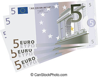 5 Euro bills - vector drawing of a 3x 5 Euro bills isolated...