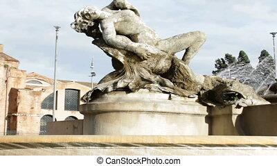 Piazza della Repubblica - View upon sunlit Piazza della...