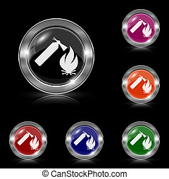 Fire icon - Silver shiny icons - six colors vector set -...