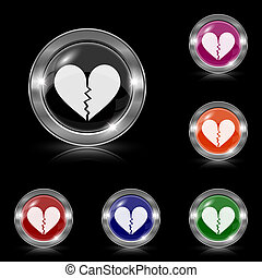 Broken heart icon - Silver shiny icons - six colors vector...
