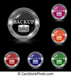 Back-up icon - Silver shiny icons - six colors vector set -...