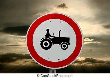 Tractors - Traffic sign prohibiting tractors