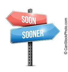 soon sooner sign illustration design