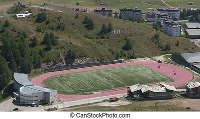 Soccer field in the mountains - Soccer field in small...