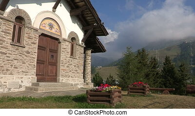 Small church in the Italian Alps in summer
