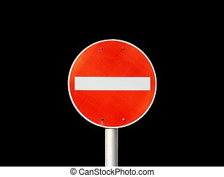 No entry traffic sign isolated on black