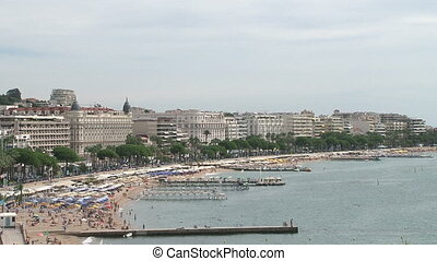 Panoramic view of beach in Cannes