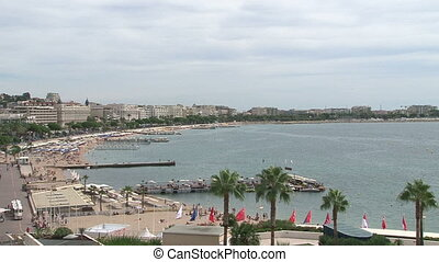 Panoramic view of beach in Cannes in September