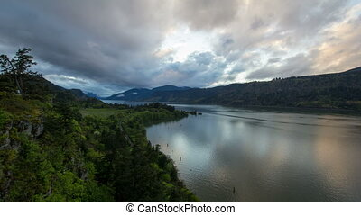 Columbia River Gorge at Hood River Oregon Scenic View During...
