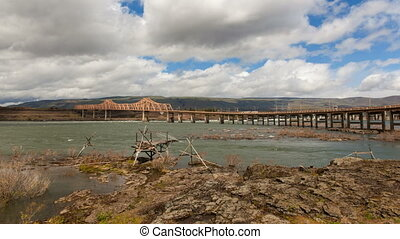 The Dalles Dam and Dalles Bridge Across Columbia River Gorge...