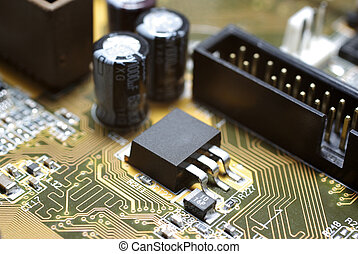 Motherboard\'s fragment macro photography. Focus on IDE.