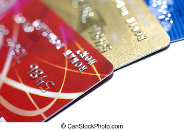 Credit cards isolated on white background with shadow....