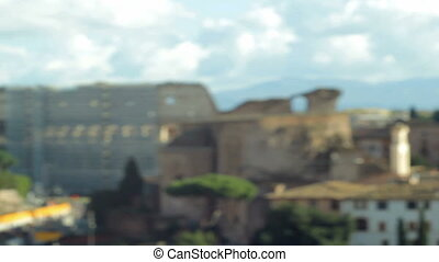 Roman Coliseum Focus in - Camera focusing on Colosseo ruins...