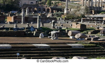 Ruins of Roman Forum Tilt Up - Tilt up shot of Foro Romano...