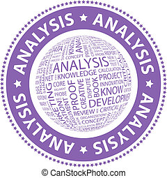ANALYSIS. Word cloud illustration. Tag cloud concept...