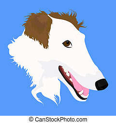 head of Russian wolfhound - head of white-brown Russian...