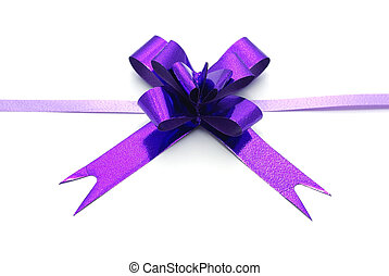 Violet ribbon bow isolated on white background.