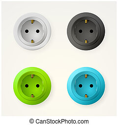 Illustration of sockets - Set of colored circle sockets....