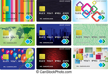 Nine variants of credit cards - Set from nine variants of...