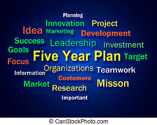 Five Year Plan Brainstorm Means Strategy For Next 5 Years -...