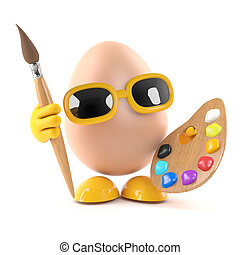 3d Egg artiste - 3d render of an egg with paint brush and...