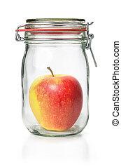 Fresh apple in a canning jar