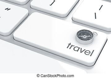Travel concept - 3d render of compass sign on the computer...