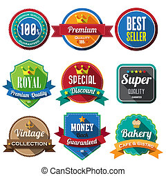 Set of retro vintage badges and labels 05 Flat design with...