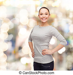smiling asian woman over white background - happiness people...
