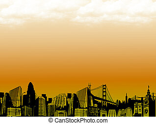 city at dusk - conceptual city at dusk with bright effects....
