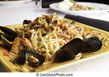 Seafood Fra Diavolo with Linguine 2 - A colorful platter...