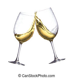 White wine glasses - Toasting of two white wine clear...