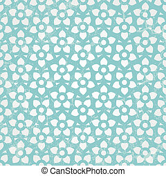 Blue floral wallpaper Vector seamless background - Blue...