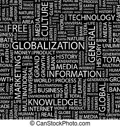 GLOBALIZATION. Seamless pattern. Word cloud illustration.